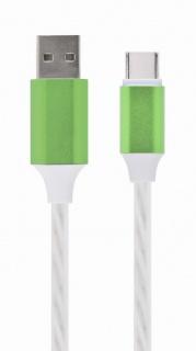 Cablu USB 2.0 la USB type C LED light effect 1m. Gembird CC-USB-CMLED-1M-green
