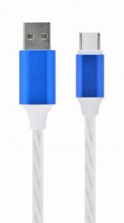 Cablu USB 2.0 la USB type C LED light effect 1m. Gembird CC-USB-CMLED-1M-blue
