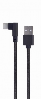 Cablu de date si alimentare USB la USB type C unghi 0.2m Negru, Gembird CC-USB2-AMCML-0.2M