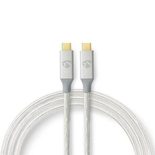 Cablu USB 3.2-C Gen 2 T-T 20Gb/s 5A/100W 2m brodat Argintiu, Nedis CCTB64020AL20