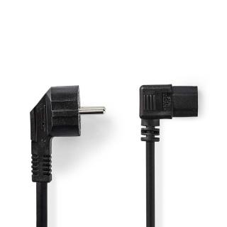 Cablu de alimentare PC IEC C13 unghi 90 grade 10m, Nedis CEGP10020BK100