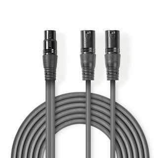 Cablu audio XLR 3 pini la 2 x XLR 3 pini M-T 1.5m, Nedis COTH15020GY15