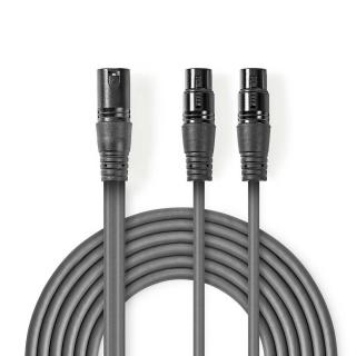 Cablu audio XLR 3 pini la 2 x XLR 3 pini T-M 1.5m, Nedis COTH15025GY15