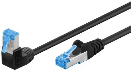 Cablu de retea cat 6A SFTP LSOH cu 1 unghi 90 grade 10m Negru, Goobay G51561