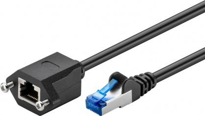 Cablu prelungitor RJ 45 CAT 6A S/FTP (PiMF) 1.5m Negru, Goobay 77576