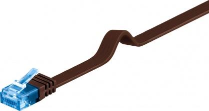 Cablu de retea RJ45 CAT 6A flat UTP 3m Maro inchis, Goobay 96337