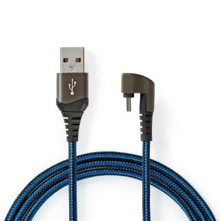 Cablu USB 2.0-A la USB-C unghi 180 grade 1m, Nedis GCTB60600BK10