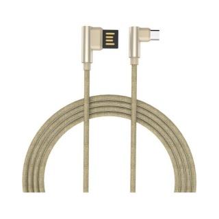 Cablu micro USB-B la USB 2.0 T-T unghi 90 grade 1m auriu, GC-48 Gold
