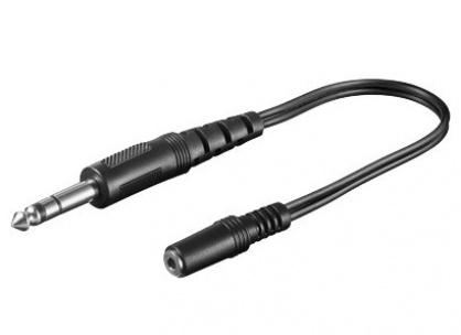Adaptor audio jack stereo 3.5mm la jack stereo 6.35mm M-T 0.2m, kjr-36