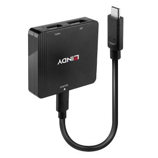 Adaptor USB-C la HDMI + DIsplayport 4K@60Hz T-M MST, Lindy L43304