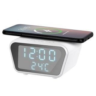 Ceas cu alarma si incarcare wireless 5W/7.5W/10W Alb, RB-6303-W