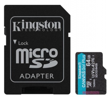 Card micro SDXC + adaptor SD 64GB Clasa 10 UHS-I Canvas GO Plus, Kingston SDCG3/64GB