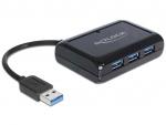 Hub USB cu 3 x USB 3.0 + 1 port Gigabit LAN, Delock 62440