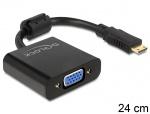 Adaptor mini HDMI-C la VGA T-M Negru, Delock 65514